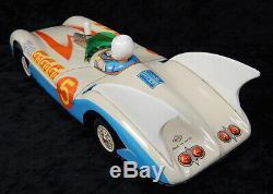 RARE Vintage Aoshin ASC Japan Tin Speed Racer Mach 5 Go Rocket Friction Toy Car