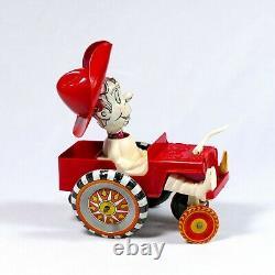 RARE Vintage Louis Marx Tin & Plastic Windup Sheriff Sam Whoopee Car Toy Jeep