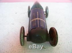 RARE vintage car race winp up tin litho ROPE BIG TOY NO TIPPCO