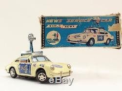 Radio Television Camera TV car tin toy TPS Japan T. P. S. World Toplay Battery Op