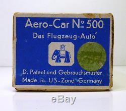 Rare 1950's Blomer & Schüler # AERO CAR No500 in Original Box! (US-Zone)