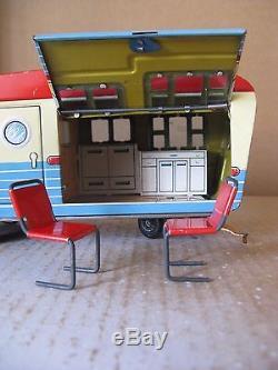 Rare 1959 Haji JAPAN Ford Fairlane House Trailer Tin Toys car Vehicles Box