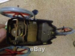Rare Antique Lehmann Wind Up Tin Plate Toy Car Circa 1907 Boy And Parasol