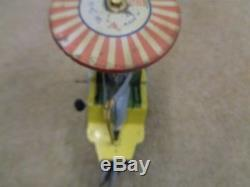 Rare Antique Lehmann Wind Up Tin Plate Toy Car Circa 1907 Boy And Parasol