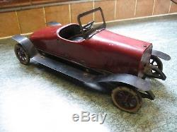 Rare Antique Toy 1919 Huge Structo Stutz Bearcat Clockwork Tin Car & Paper Work