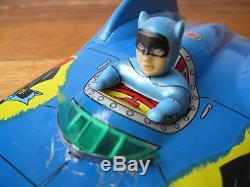 Rare Asc Aoshin 11 Tin Toy Batman Car Batmobile With Working Friction Engine