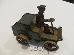 Rare Early 1900's Lehmann tin OHO car with driver wind-up Works