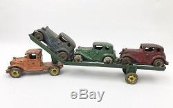 Rare Early Vintage AC Williams Cast Iron Austin Car Transporter American Made