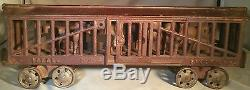 Rare Large Early 1900s Ideal Cast Iron Floor Train Stock Car w Moving Horses 14