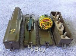 Rare Marx prewar ARMY Floor Train 4-Car Metal Wood Wheels 1940 wyandotte marx