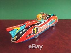 Rare Masudaya Modern Toys Japan Tin Friction Seven Star Racer Race Car with Or Box