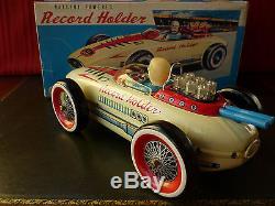 Rare Masudaya Modern Toys MT Japan Tin Battery Op. Record Holder Race Car with Box