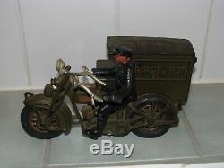 Rare Original Antique 10 Hubley Cast Iron Harley Davidson Parcel Post Side Car