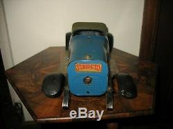 Rare Structo Toys #12 Bearcat Blue Body Triple Spring Wind Up Car Antique Parts