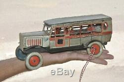 Rare Vintage T. T Excursion Motor Car Wind Up Tin Toy, Japan