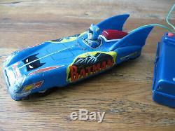 Rare Vintage Tin Aoshin Asc Batmobile Batman Car With Working Battery Remote