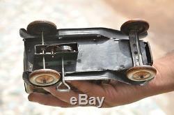 Rare Vintage Wind Up T. K Trademark 1934 New Excursion Litho Car Tin Toy, Japan