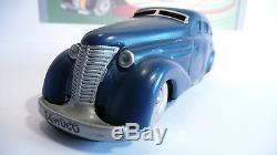 SCHUCO 1010 TIN WIND UP CAR MADE IN US ZONE GERMANY 1940's ORIG. KEY & COPY BOX