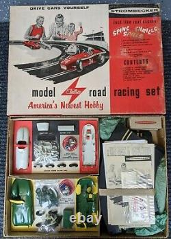 STROMBECKER 1/32nd Scale SLOT CAR RACE SET In BOX-Vintage Toy 1959