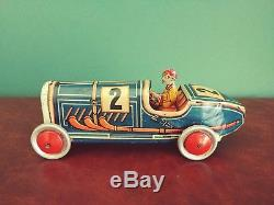 Scarce 1930's Georg Levy GELY Tin Nr 2 Boattail Racer Race Car with Driver