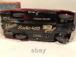 Schuco Radio 4012 Red Wind Up Car Original Box Key Working Germany Swiss Thorens