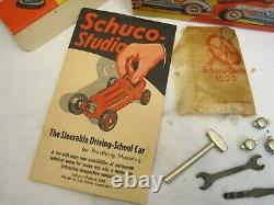 Schuco Studio Race Car 1050 with Box Accessories Wind-Up Toy Germany