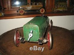 Structo Speedster #8 Green Dragon 1918 Stutz Racing Car Wind Up Antique Tin Toy