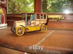 Super rare ZETT LIMOUSINE & GARAGE GERMANY TINPLATE CAR ANTIQUE WIND UP TIN TOY