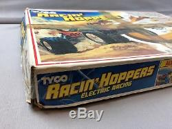 Sweet Vtg Toy Slot Car Set TYCO Racin' Hoppers 2 Cars 2 Controllers In ORIG Box