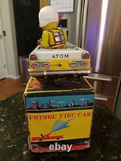 T. N Nomura Atomic Fire Car Tin Litho Toy Japan Battery Operated Space Patrol Box