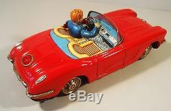 Tin Battery Op 1958 Corvette Convertible Car Driver Opening Door Yonezawa Japan