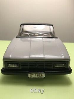 TIN CAR VOLGA GAZ SOVIET MECHANICAL REMOTE CONTROL USSR RUSSIA 1960s WITH BOX