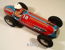 Tin Friction 1950's Dragon Racer Race Car W Driver Hard To Find Yonezawa Japan