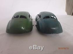Two Vintage Lincoln Toys 7 Inch Pressed Steel Cars For Auto Carrier Rare