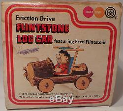 The Flintstones Friction Drive Flintstone's Log Car By Marx Toys 1977 (mlfp)