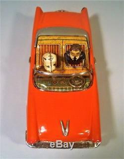 Tin Friction Late 50's Lincoln Convertible Car W Driver Dog Ichiko Kanto Japan