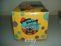 Tin Toy Japan Battery Police Patrol Car Age Space Giocattolo D'epoca In Latta