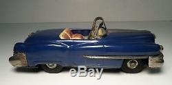 Tin Toy Japanese Ichiko 1955 Blue Cadillac Convertible Car Friction Japan