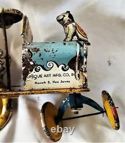 Tin Wind Up Artie the Clown Crazy Jeep Car Unique Art Great Litho Working Toy