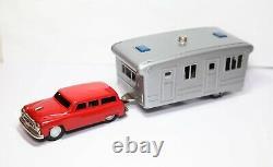 Tinplate Car And Caravan Trailer Japan Excellent Vintage Original SSS Toys