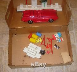 Topper Johnny Service Gas Station With Car C. 1966-68 Boxed