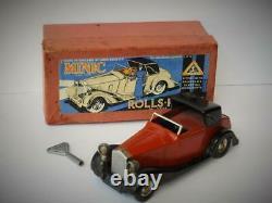 Tri-ang Minic Boxed Tinplate Rolls Royce Sedanca 50me Electric Headlights 1937