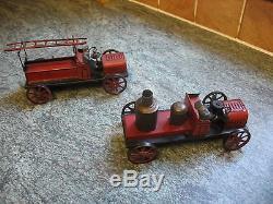 Two Antique Bing Fire Engine Pump Car Tinplate Germany Clockwork Tin Toy Truck