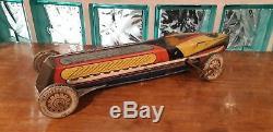 Ultra rare huge 21.25 tin race car by Matarazzo, 1950