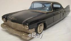 Unusual Old Tin Friction Toy Car Large 11 Black Cadillac Bandai Japan 1959