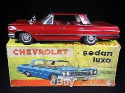 Vintage 13 Chevrolet Luxury Sedan Tin Lithograph Friction Car Boxed Metalma
