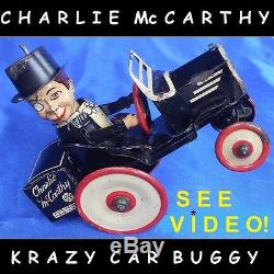 VINTAGE 1938 MARX CHARLIE McCARTHY BENZINE BUGGY WIND UP TIN TOY CRAZY CAR WORKS