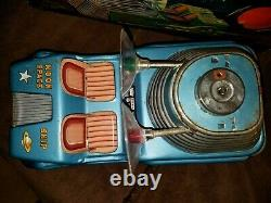 VINTAGE 1950's LINE MAR MOON CAR SPACE SHIP WITH ORIGINAL BOX WORKING