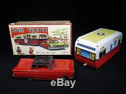 VINTAGE 1950's MIB HOUSE & TRAILER CAMPER TIN LITHO. FRICTION CAR 13 M. T. JAPAN