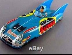 Vintage 1960 Batman Batmobile Tin Friction Toy Car
